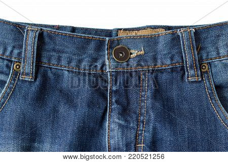 Close-up of buttoned blue denim jeans isolated on white background.