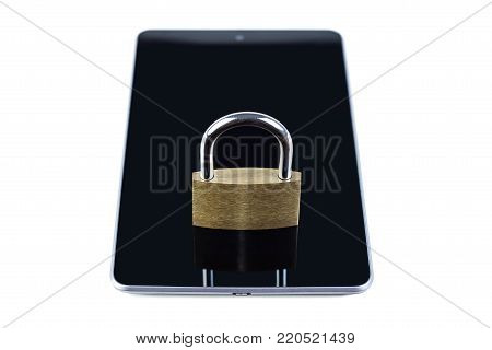 Locked padlock on a tablet computer. Isolated on white background. Concept photo of technology, mobile and tablet computer security.