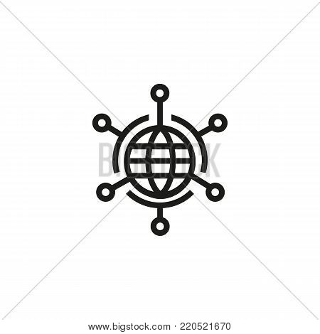 Icon of global networking. Communication, globe, links. Globalization concept. Can be used for topics like connection, interaction, community