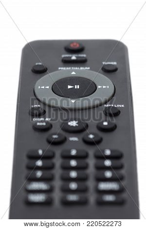 Close-up of a dark grey remote control, focused on the Play/Pause button, facing forward, isolated on white background.