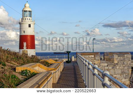 Lighthouse with promenade at Europa point in Gibraltar