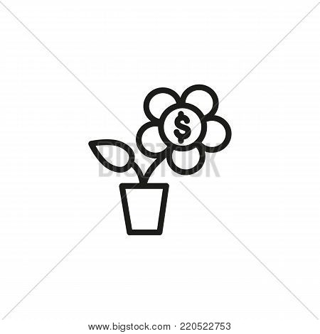 Icon of money tree. Potted plant, flower, dollar. Financial wellbeing concept. Can be used for topics like wealth, investing in nature, capital, making money