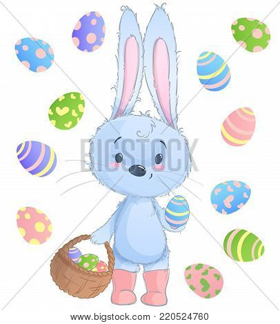 Happy Easter Bunny. Vector illustration clipart set for Easter greeting card, invitation, with cute rabbit and Easter eggs on isolated background.