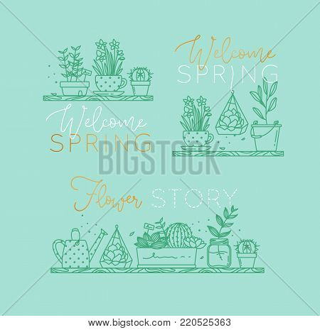 Compositions with shelf flat icon plants in pots lettering welcome spring, flower story drawing with menthol on turquoise background