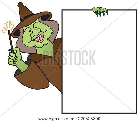 A smiling cartoon witch with a magic wand is holding a sign with room for copy