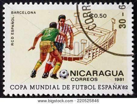NICARAGUA - CIRCA 1981: a stamp printed in Nicaragua shows Soccer Players in Action, 1982 World Cup, circa 1981