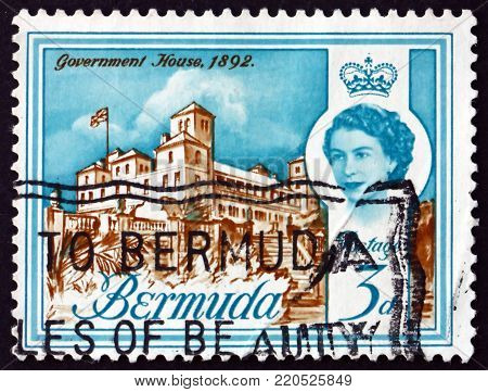 BERMUDA - CIRCA 1962: a stamp printed in Bermuda shows Government house, 1892, circa 1962