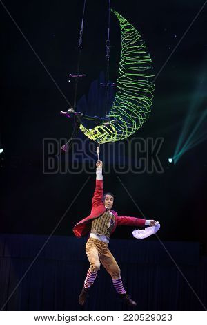 ST. PETERSBURG, RUSSIA - DECEMBER 28, 2017: Sergey Akimov as Kai in the circus show Snow Queen by Great Moscow circus. The show created by Zapashny brothers circus
