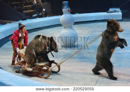 ST. PETERSBURG, RUSSIA - DECEMBER 28, 2017: Sergey Akimov as Kai with trained bears in the circus show Snow Queen by Great Moscow circus. The show created by Zapashny brothers circus