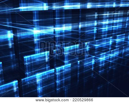 Technology background - abstract computer-generated image. Digital art: glowing blue in dark grid. Hi-tech or sci-fi concept backdrop or graphic design element.