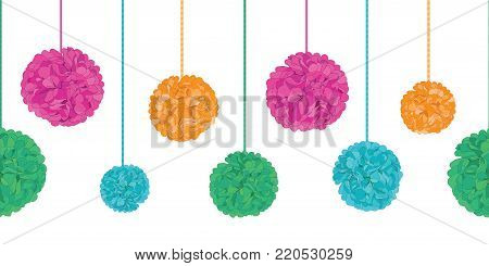 Vector Vibrant Colorful Birthday Party Paper Pom Poms Set On Strings Horizontal Seamless Repeat Border Pattern. Great for handmade cards, invitations, wallpaper.