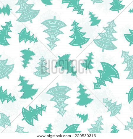 Vector green scattered christmas trees forest holiday seamless pattern. Great for winter holiday fabric, wallpaper, packaging, giftwrap. Surface pattern design.
