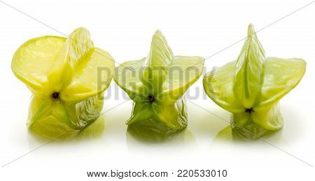 Carambola isolated on white background three in row