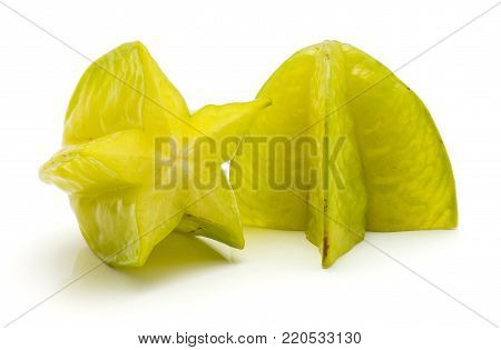 Carambola cut in half isolated on white background two halves