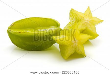One carambola and two halves isolated on white background