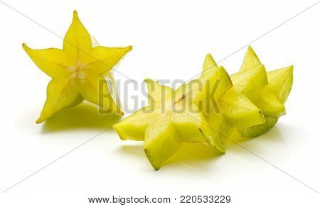 Sliced carambola isolated on white background four star slices