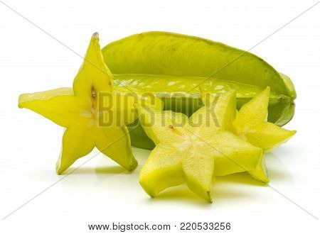 Sliced carambola isolated on white background three star slices and one whole
