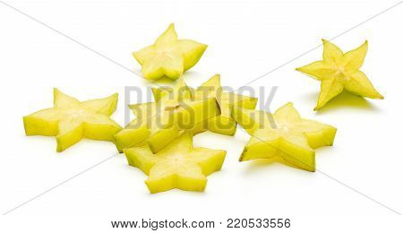 Carambola star slices isolated on white background