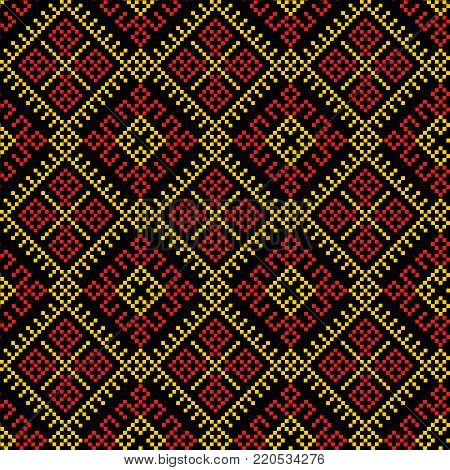 ethnic seamless pattern background, vector illustration traditional textures in red, orange, yellow and black colors
