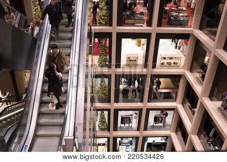 ROME, ITALY - DECEMBER 30, 2017: Interior of La Rinascente shopping center in Rome with its modern architecture.