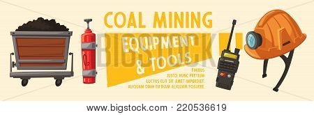 Banners with mining tools. Worker's inventory. Cartoon vector illustration. Coal mining theme. Hard work.