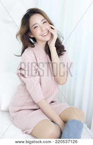 Attractive Asian Woman Wake Up On Bed With Happy Emotion, People Lifestyle Concept.