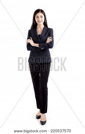 Asian Business Woman Smiling, Woman Stand And Smile, Isolated On White Background, Woman Working Con
