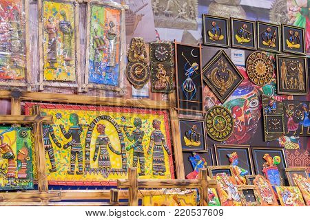 KOLKATA, WEST BENGAL , INDIA - DECEMBER 3RD 2016 : Artworks made of various artists , handicrafts on display during the Handicraft Fair in Kolkata - the biggest handicrafts fair in Asia.