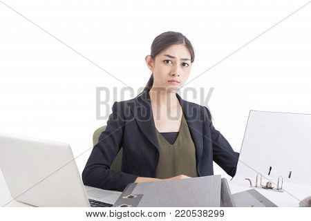 Asian Woman looking Information to Document with Serious Emotion, Woman working Concept, Isolated on White Background.