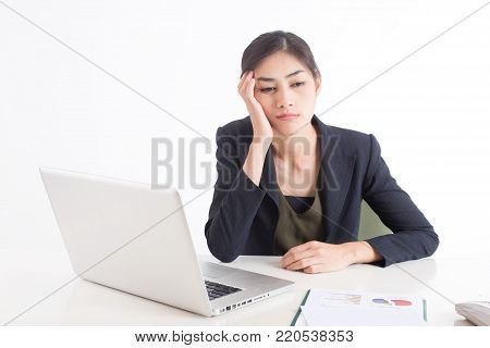 Asian Woman Feeling Bored When Work At Office, Woman Working Concept, Woman Bored With Her Job, Isol