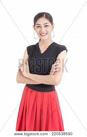 Beautiful Asian Woman Holding Cocktail Drink With Happy Emotion. People Lifestyle Concept. Isolated
