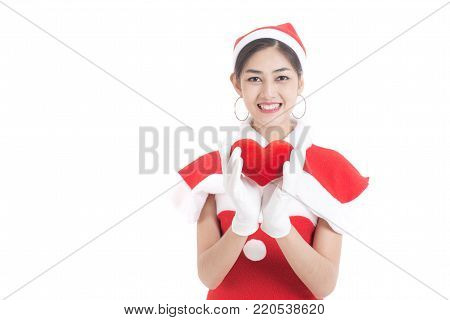 Beautiful Asian Woman With Happy Emotion, Isolated On White, Woman In Santa Claus Concept.