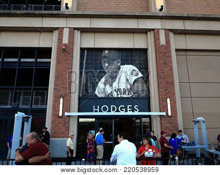 NEW YORK - SEPTEMBER 22: Gil Hodges gate at Citi Field on September 22, 2017 in New York. Hodges managed the Mets in the team's early years.