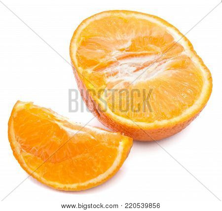 One Clementine slice and one half isolated on white background