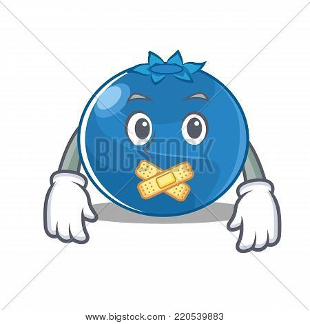 Silent blueberry character cartoon style vector illustration