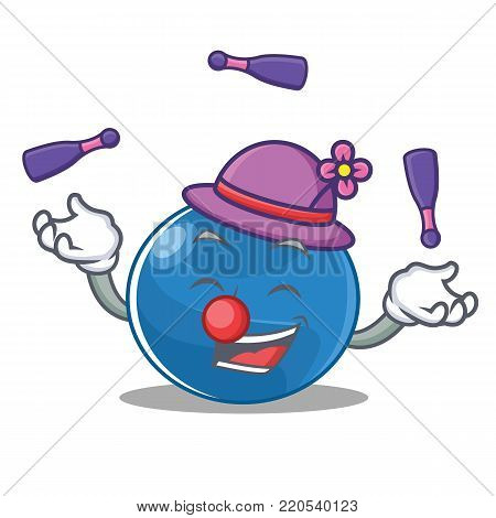 Juggling blueberry character cartoon style vector illustration