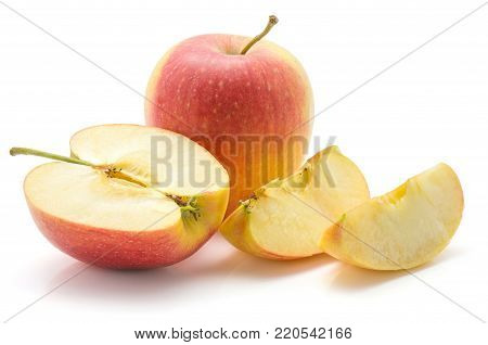 Apple set (Evelina variety) isolated on white background one whole one half two slices composition