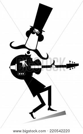 Cartoon long mustache guitarist is playing music illustration isolated. Mustache man in the top hat playing guitar silhouette black on white