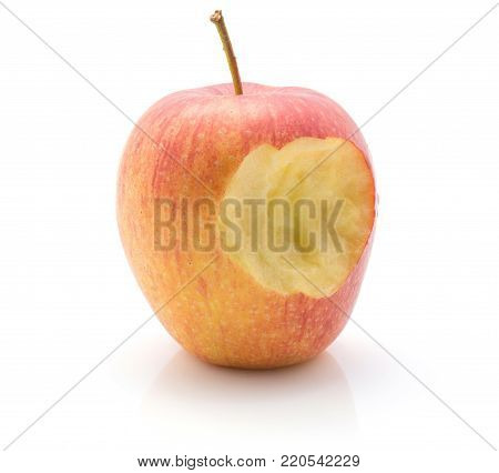 Bitten apple (Evelina variety) isolated on white background red yellow
