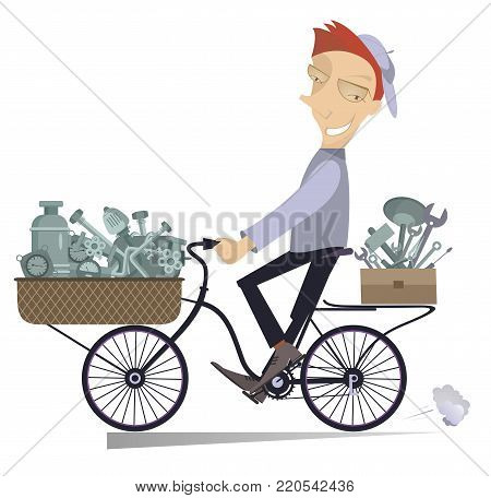 Cartoon mechanic with replacement components and tools rides on the bike isolated Illustration. Cartoon cheerful mechanic with replacement components and tools is going to work on the bike isolated on white illustration