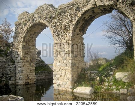 Ancient Ruins of an Aqueduct in Miletus, Turkey