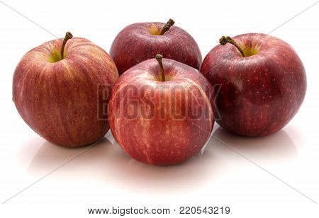 Four Gala apples isolated on white background