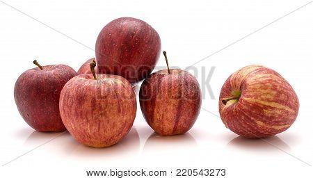 Whole Gala apples isolated on white background
