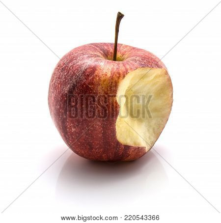 One bitten Gala apple isolated on white background