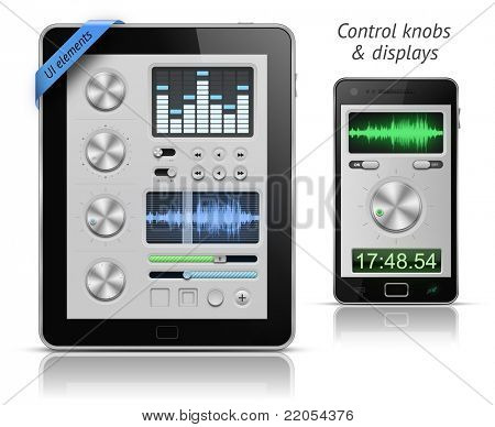 UI elements for tablets and smartphones. Control knobs and displays. EPS 10 vector illustration