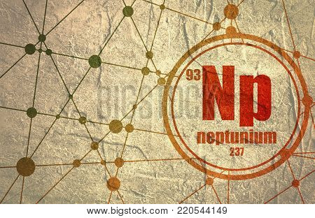Neptunium chemical element. Sign with atomic number and atomic weight. Chemical element of periodic table. Molecule And Communication Background. Connected lines with dots.