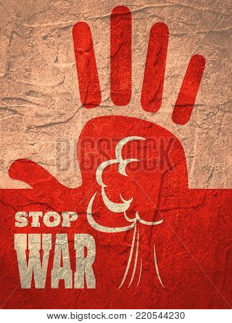 Anti war poster. Stop war text. Palm in stop gesture and atomic bomb explosion