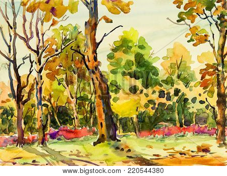 Abstract watercolor original painting colorful of flowers garden tree and grass with nature autumn trees,roadside background. Painted Impressionist, abstract image