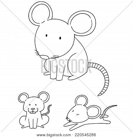 vector set of mouse hand drawn cartoon