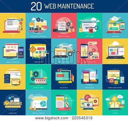 Web Maintenance | Set of great flat design illustration concepts for web, maintenance, internet, network and much more.